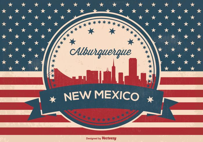 Retro Style Alburquerque New Mexico Skyline