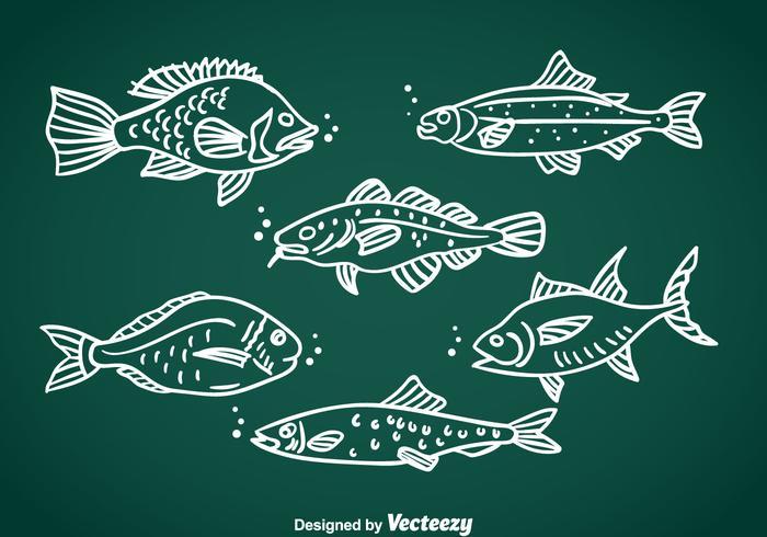 Vecteur dessiné à la main aux poissons