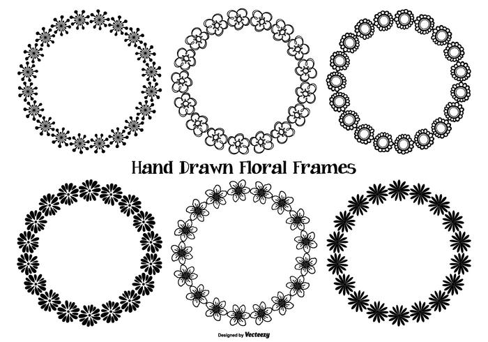 Hand Drawn Style Flower Frames