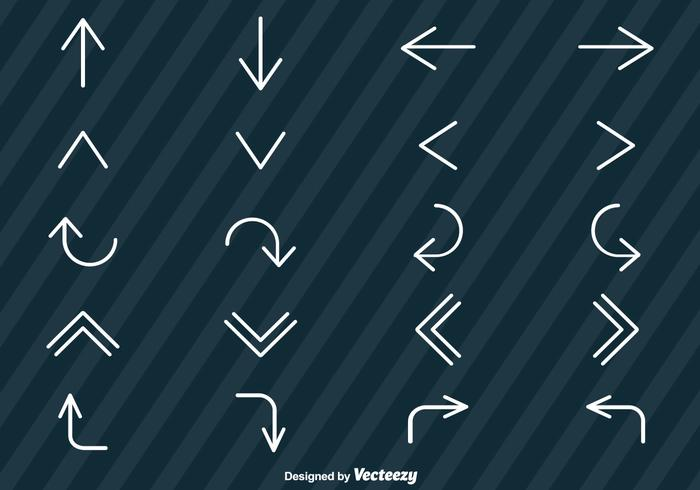 Vector Set Of Line Style Arrows Icons