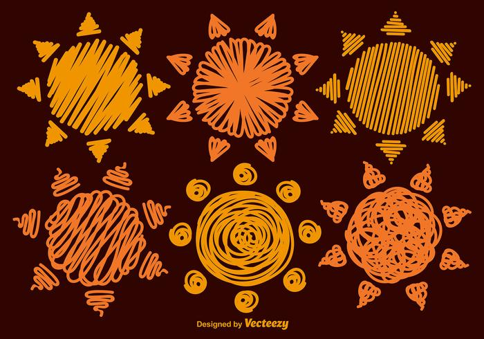 Set Of 6 Hand-drawn Vector Suns