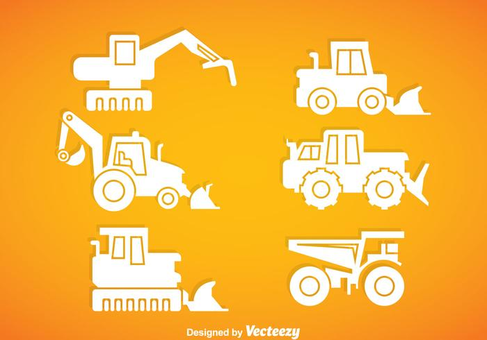 Vettore bianco delle icone del veicolo di costruzione