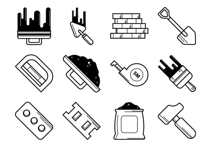Bricklayer Tools Icon Vector