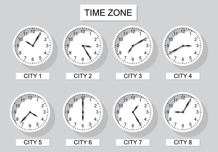 Free Time Zone Clock Vector