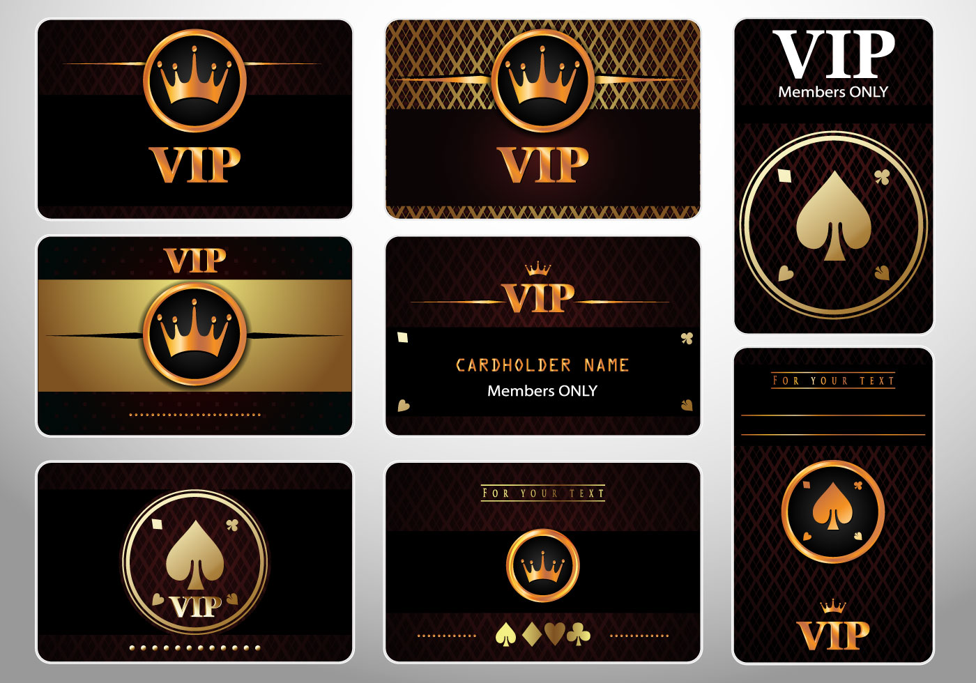 Set of VIP Cards Casino Royale - Download Free Vector Art