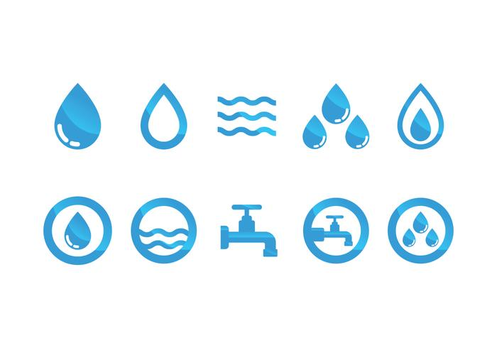 Vlak Water Pictogram Vector Set