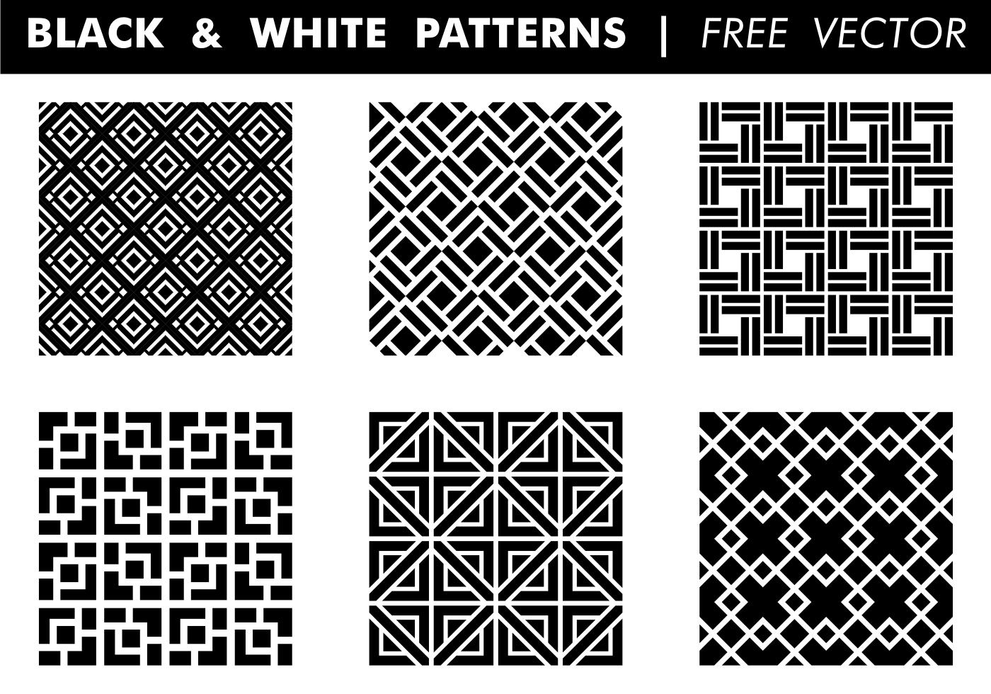 Black & White Patterns Free Vector