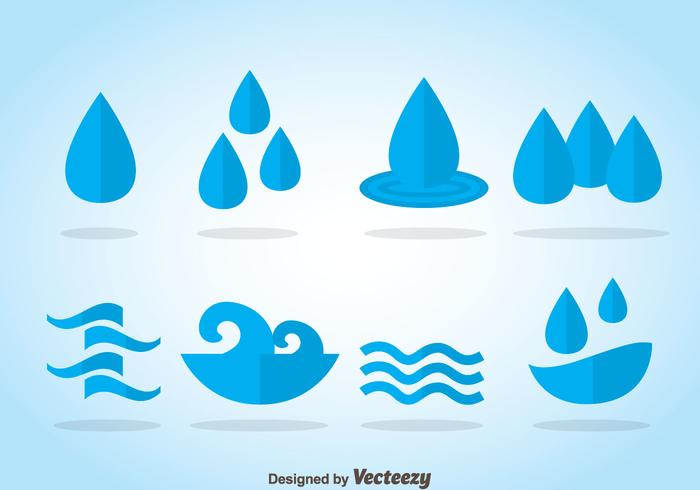 Water Blauwe Pictogrammen vector