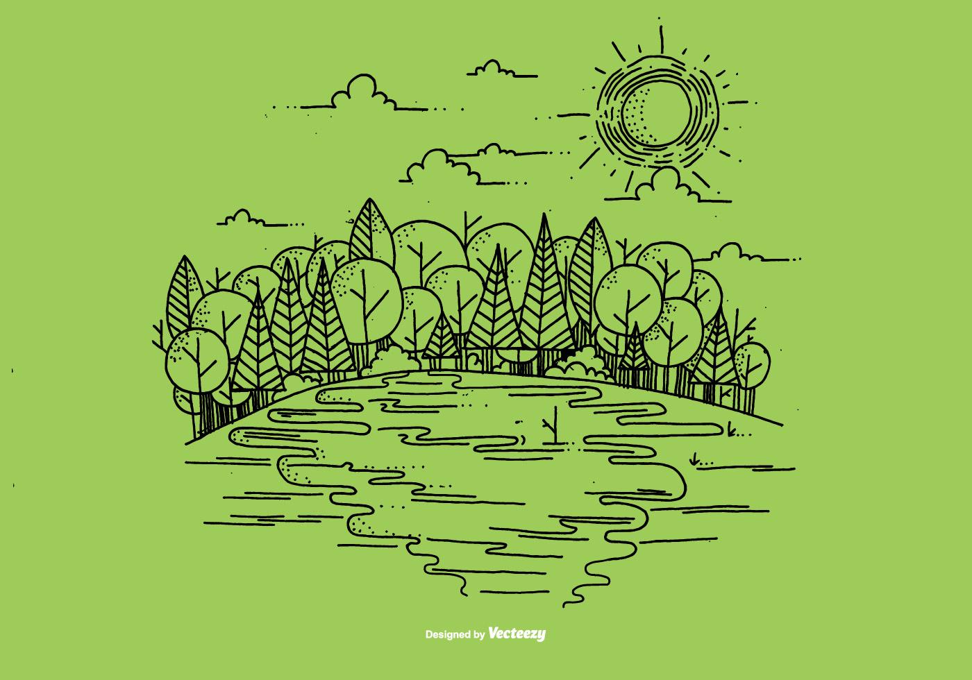 Outdoor River Scene Vector Background Download Free