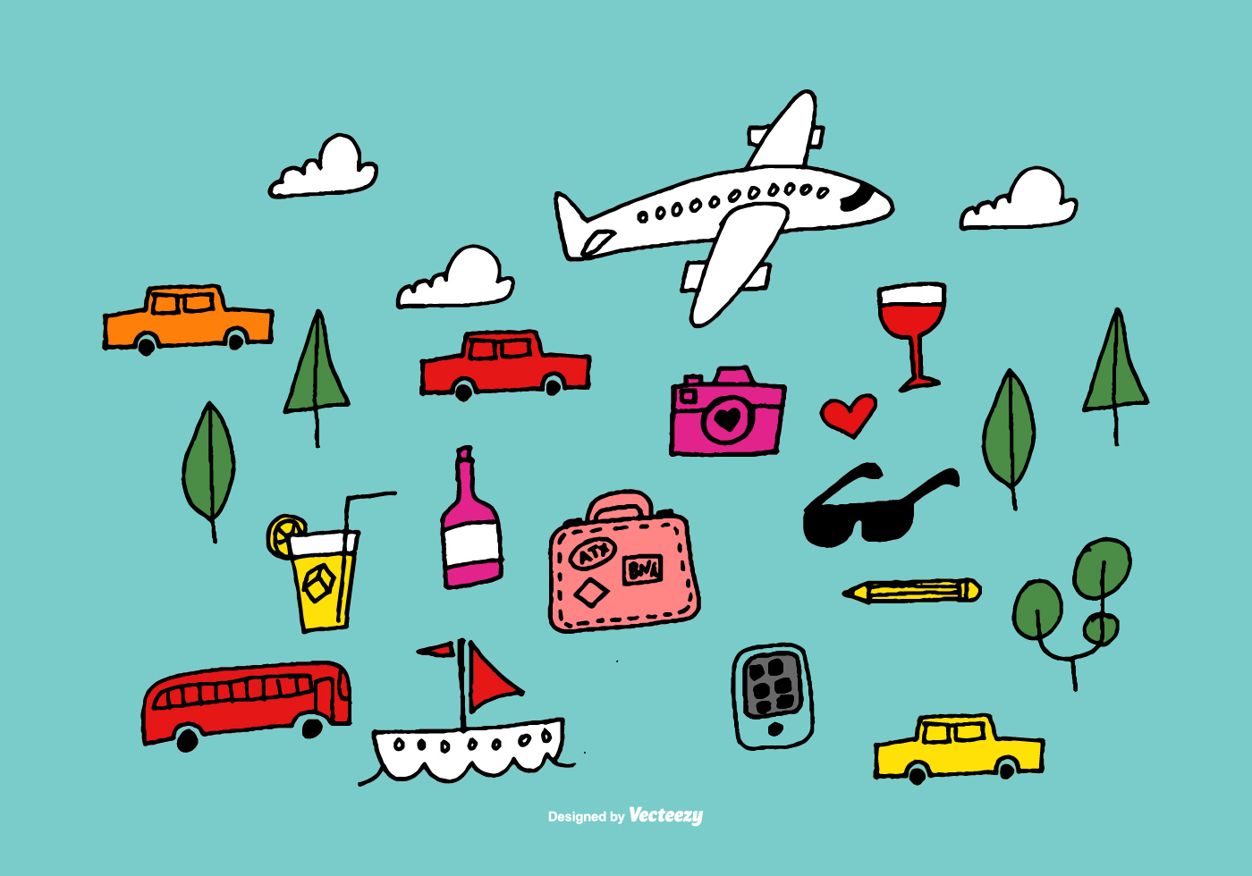 Hand drawn travel vector elements download free vector for Clipart gratis download