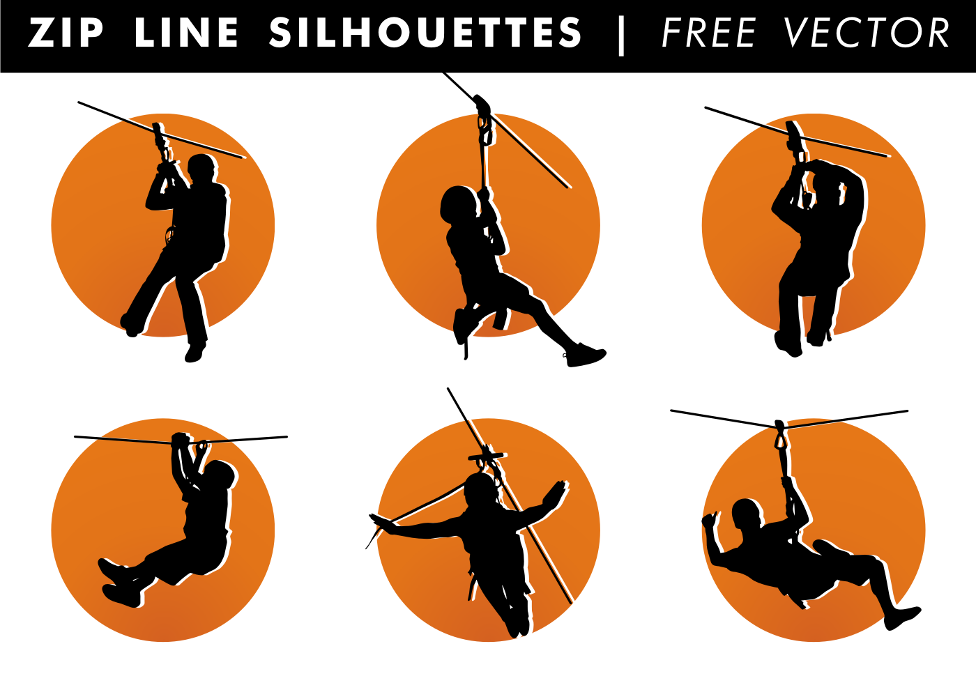 Vector Cartoon For Free Download About 5 514 Vector: Zip Line Silhouettes Vector