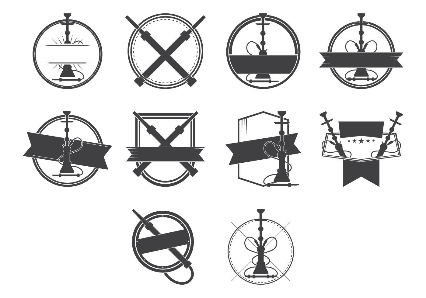 vintage nargile and hookah badge logo vector