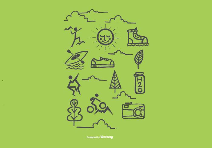 Hand Drawn Outdoor Recreation Icon Vectors