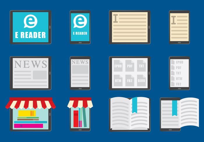 E Reader color icons