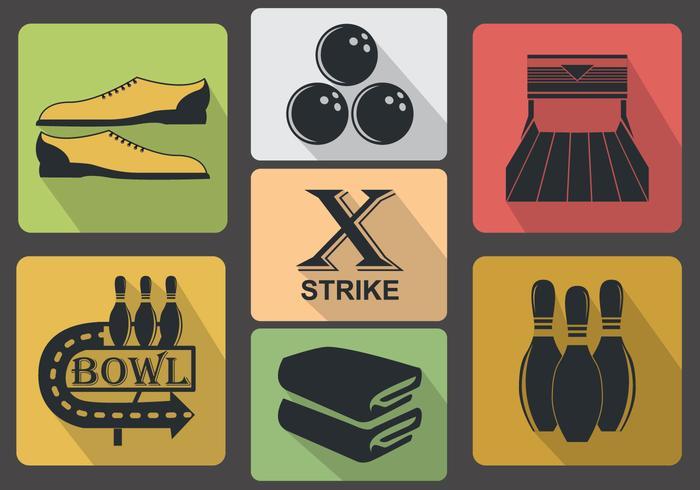 Vintage Bowling Icon Vectors