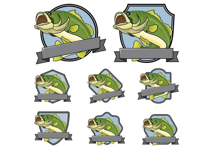 Bass fish Badge Vector
