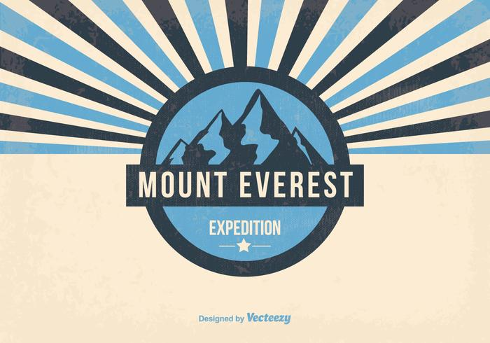 Mount Everest Retro Illustration