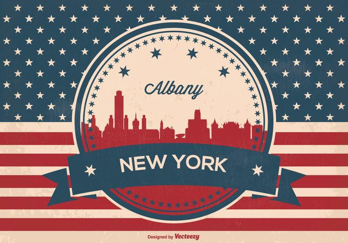 Albany New York Retro Skyline Illustration