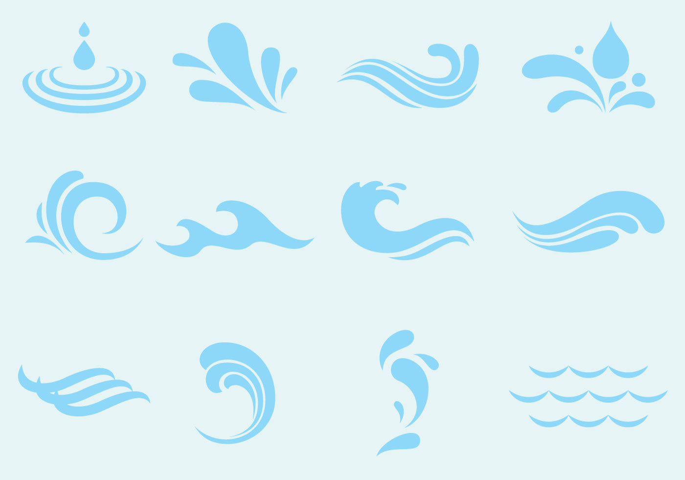 Waves free vector art 8220 free downloads vector agua wave and splash icons amipublicfo Images