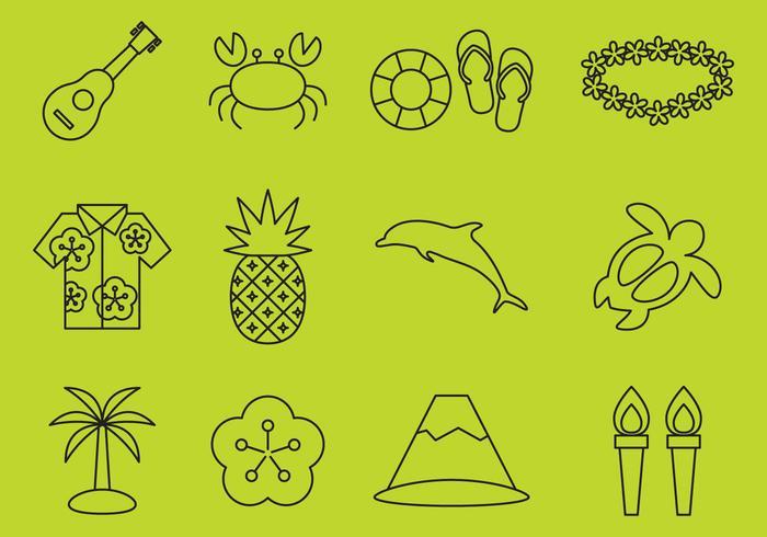 Hawaiian Line Icons vector