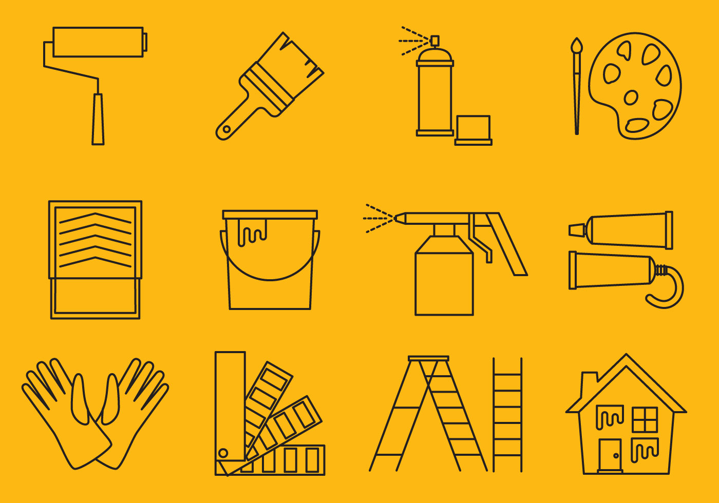 Line Art Icons Free : Painting line icons download free vector art stock