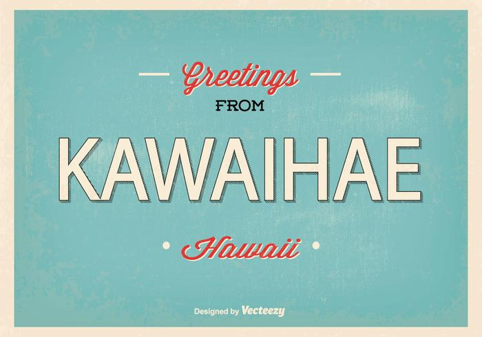 Retro Kawaihae Hawaii Greeting Illustration