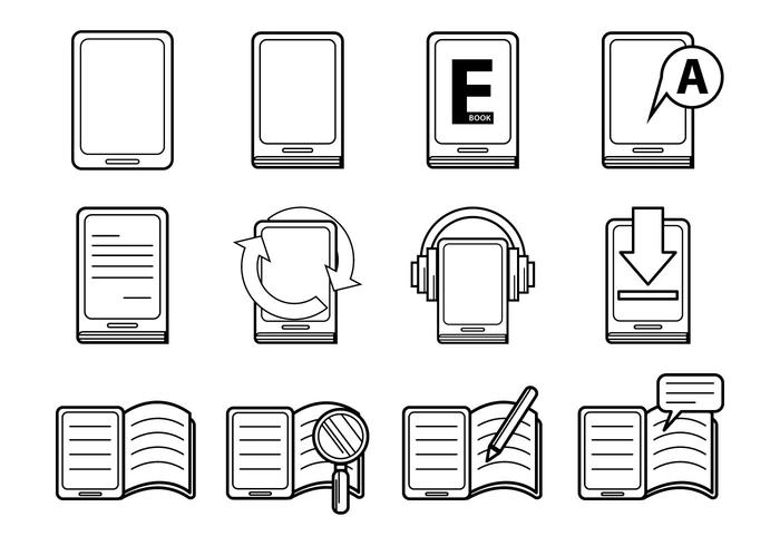 E-bok och E-Reader Icon Vector