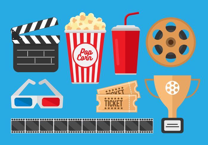 Free Pop Corn Box und Film Kino Vektoren