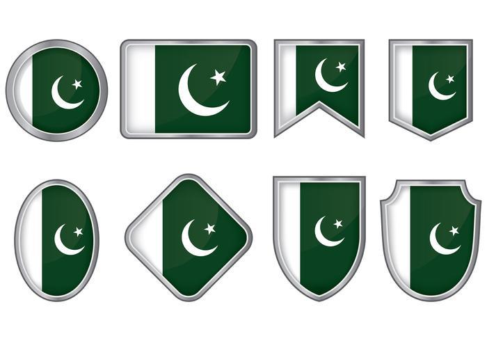 Pakistan Flag Badge Vectors
