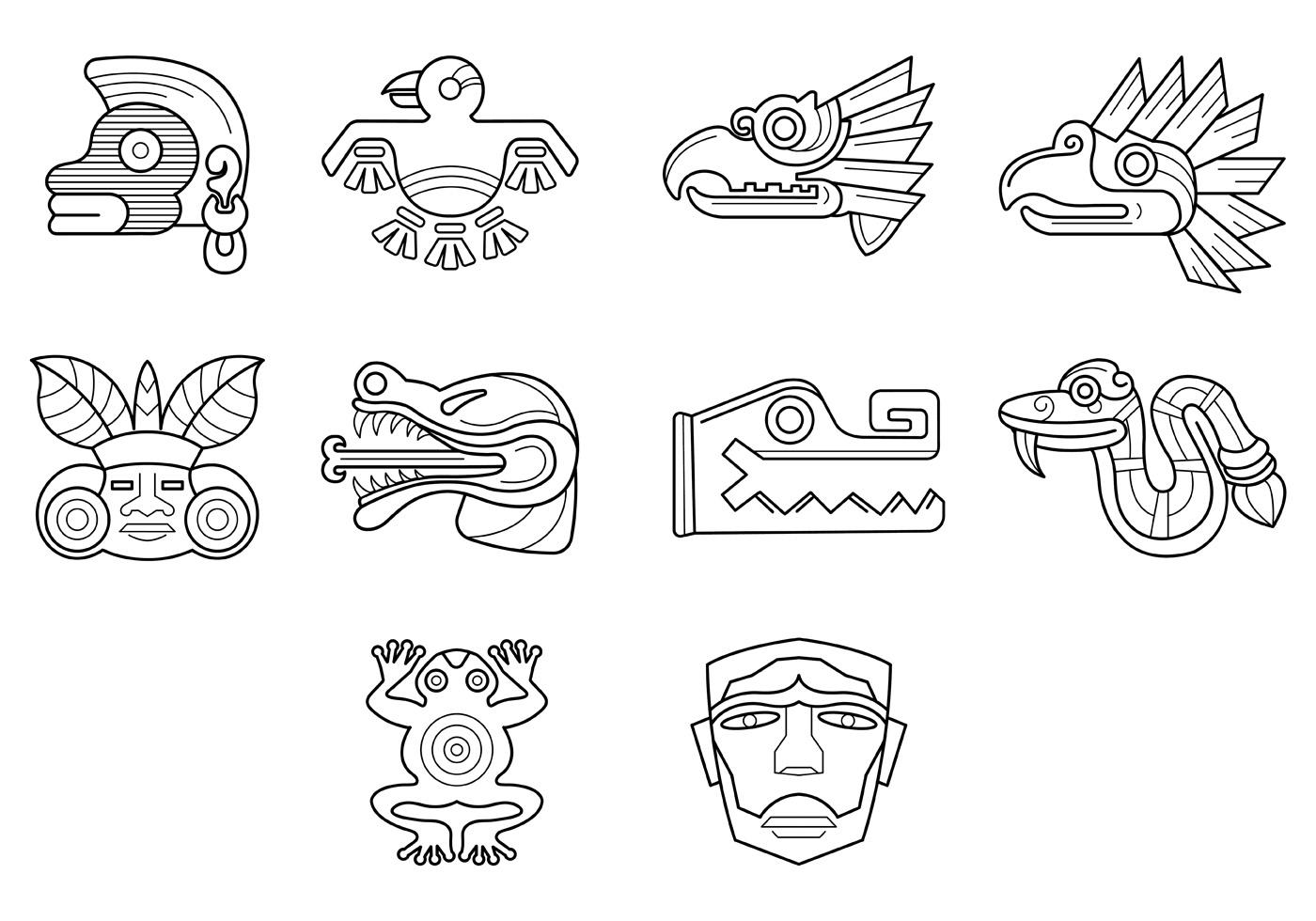 Quetzal Mayan Symbol Set Of Quetzalc...