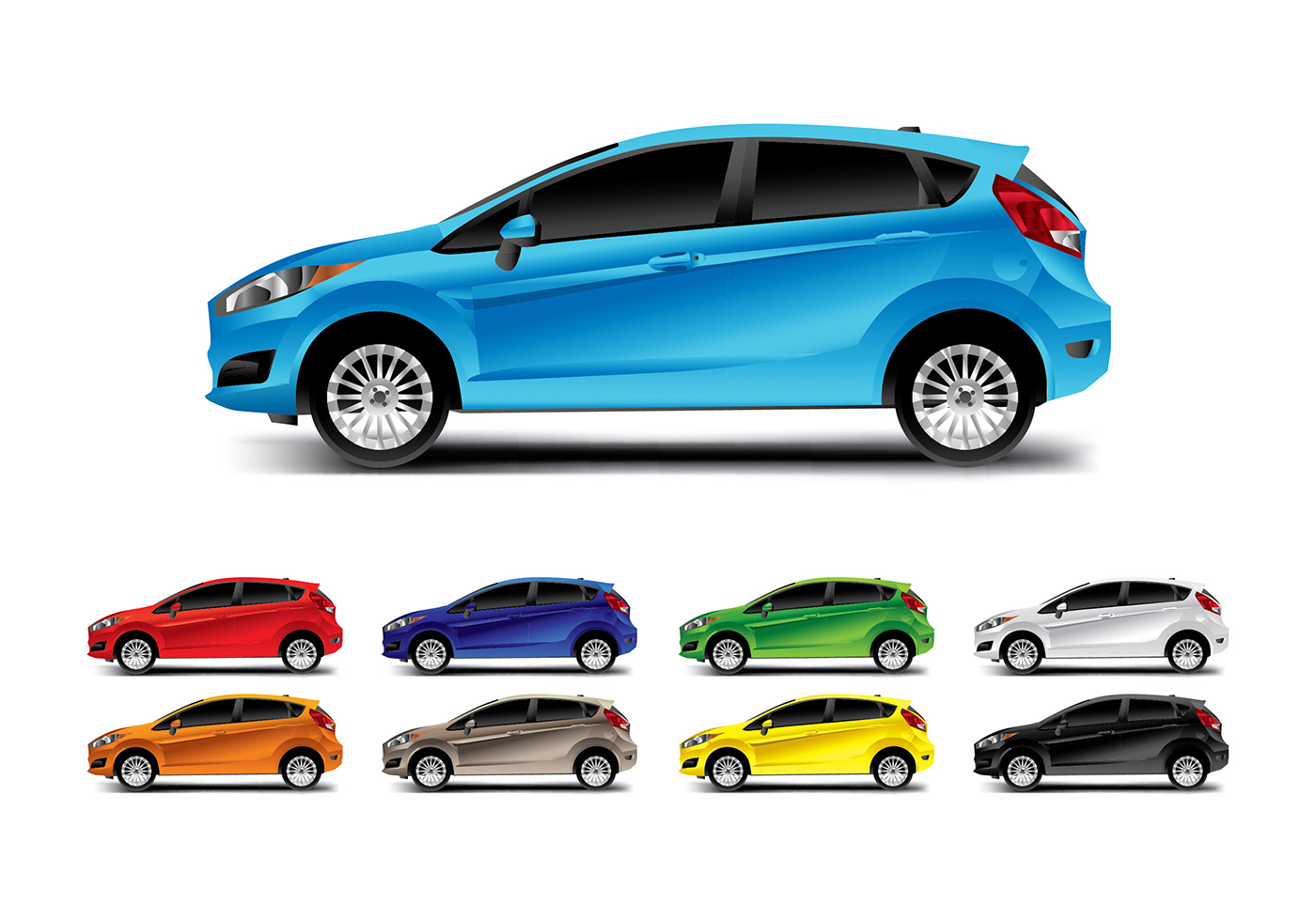 Ford Fiesta Side Vector Download Free Vector Art Stock