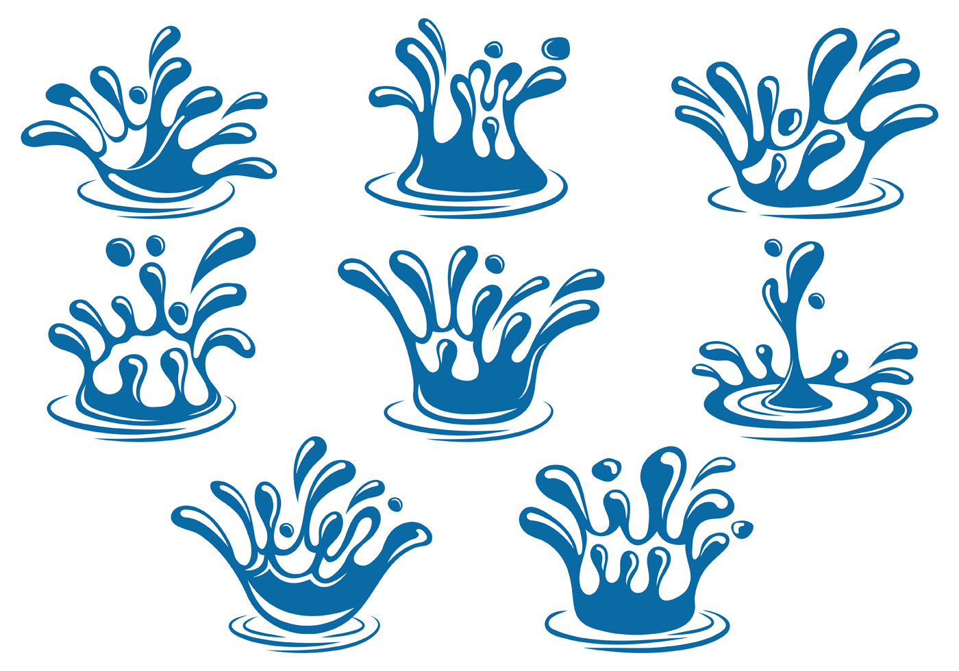 Set Of Water Splash Vector Download Free Vector Art