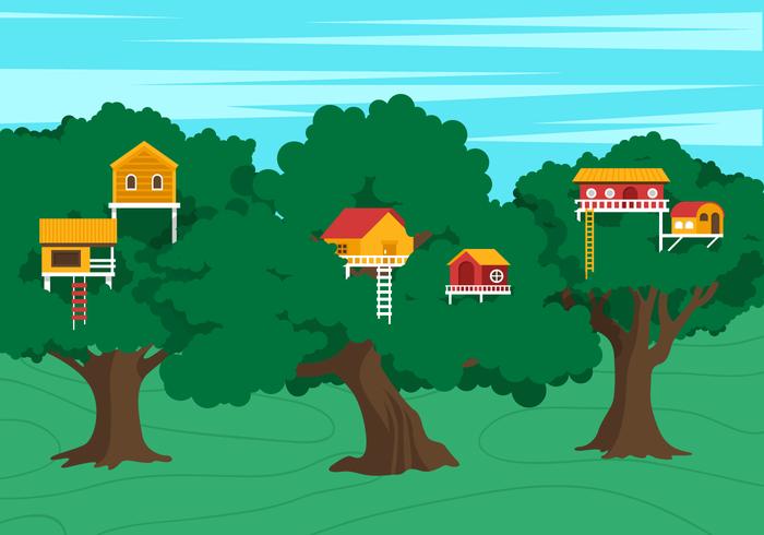 Vector Treehouse Scene