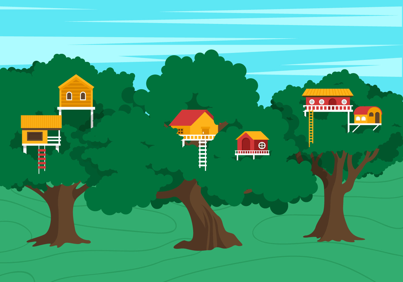 Vector Treehouse Scene Download Free Vector Art Stock