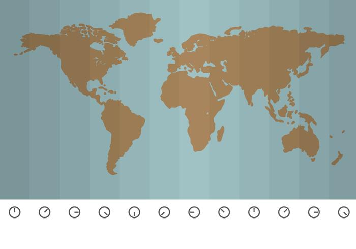 Correct Hour Around the World Vector Map