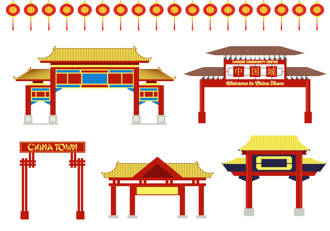 Free china town vector download free vector art stock for Chinese vector