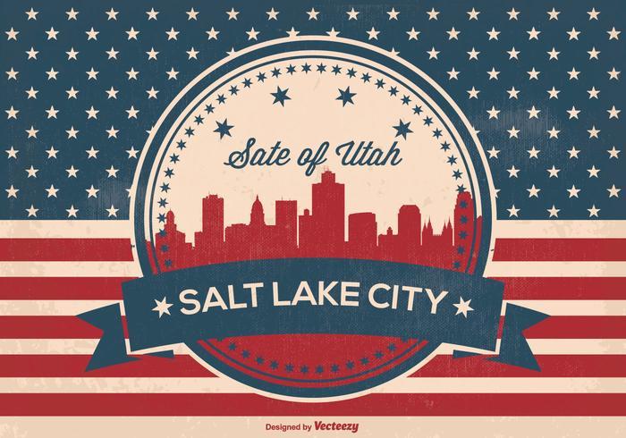 Retro Salt Lake City Skyline Illustration