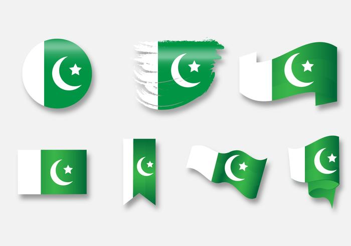 Pakistan flag icon set b vektor