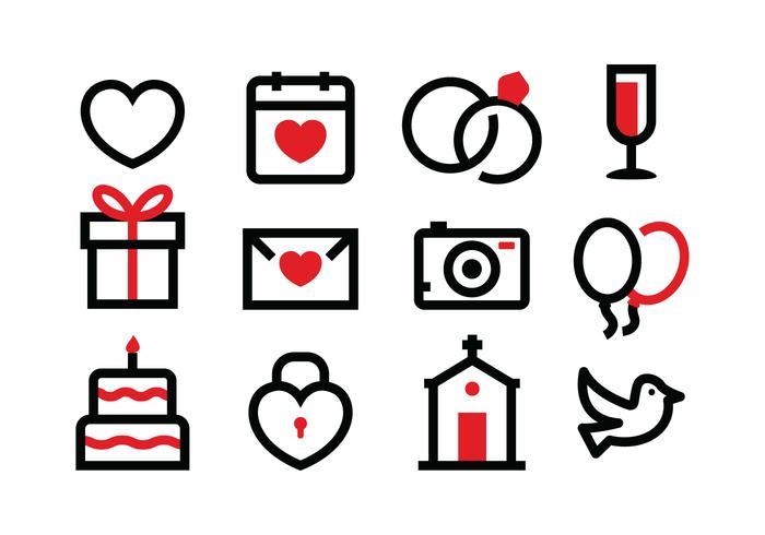 Ensemble d'icônes de mariage gratuit