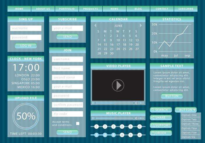 Blaue Steigung Web-Elemente