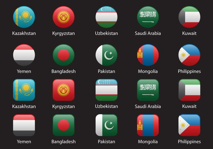 Asia Flags Set 2 vector