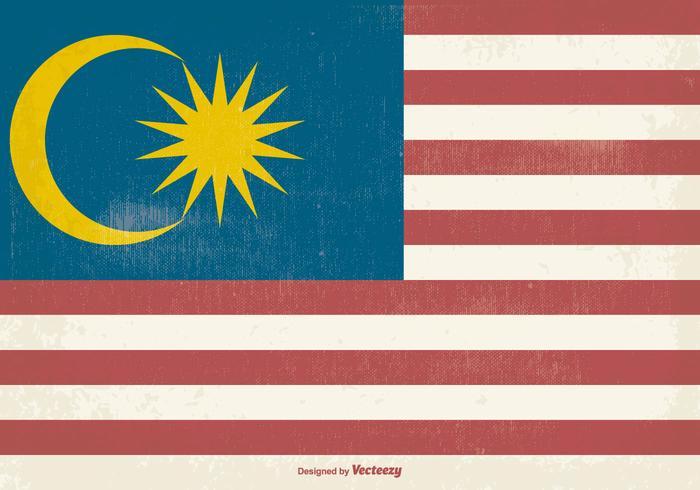 Gammal Malaysia Grunge Flagga