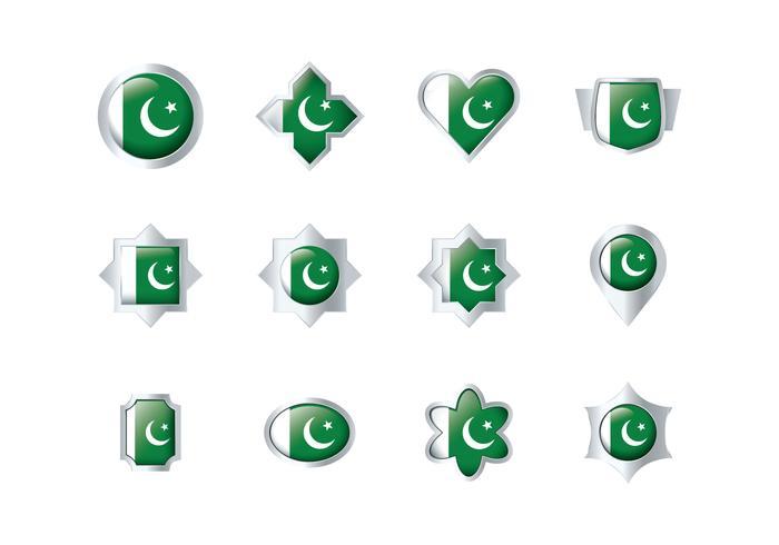 Free Pakistan Flag Badge Vectors