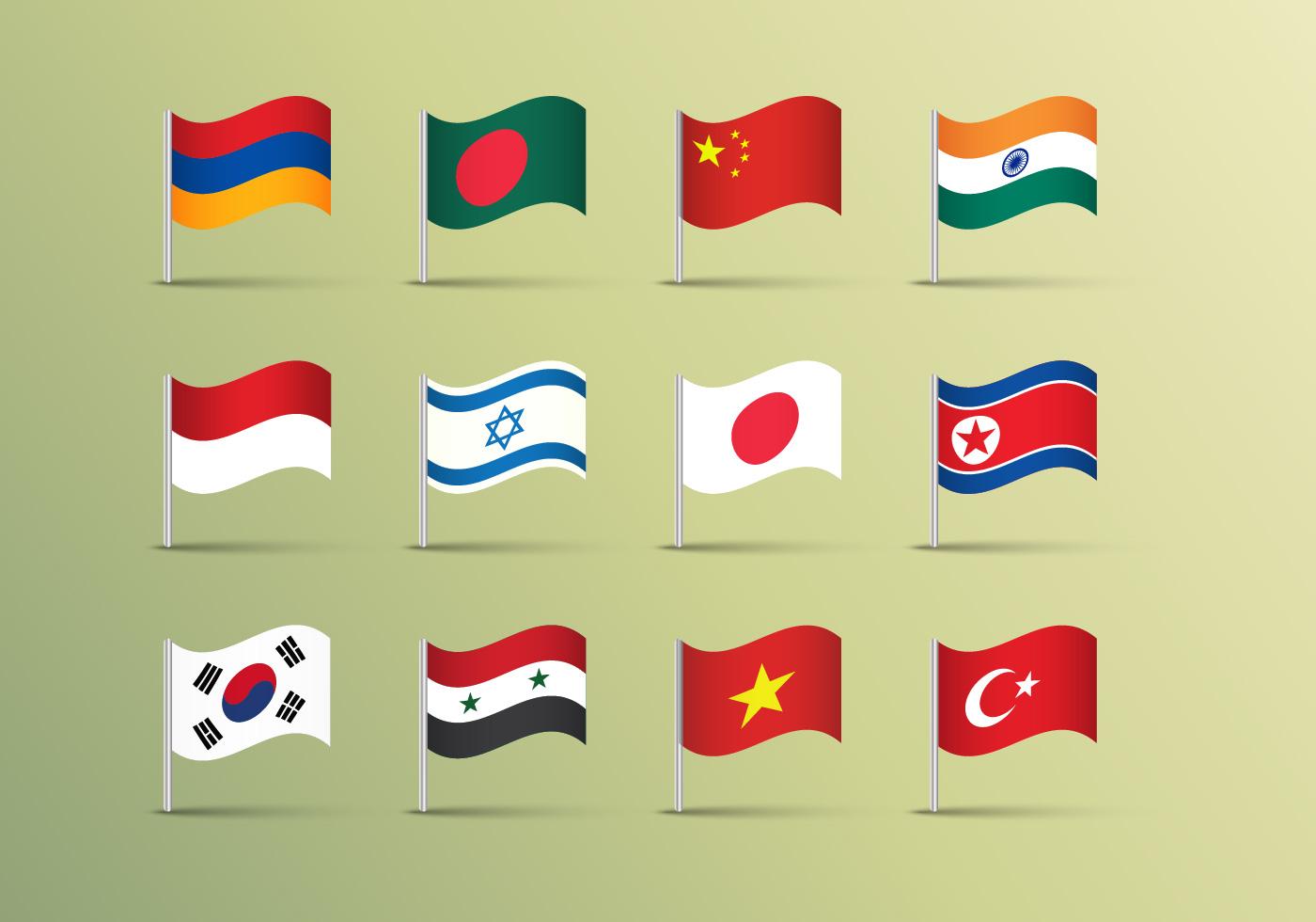 Флаги стран азии картинки