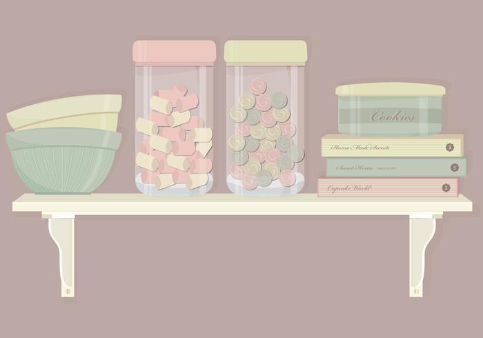 Kitchen Shelf Elements Vector Set