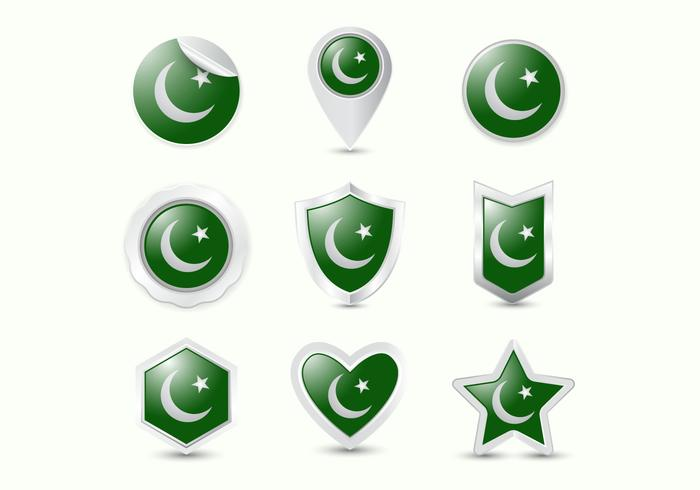Free Pakistan Flag Realistic Badge Vectors