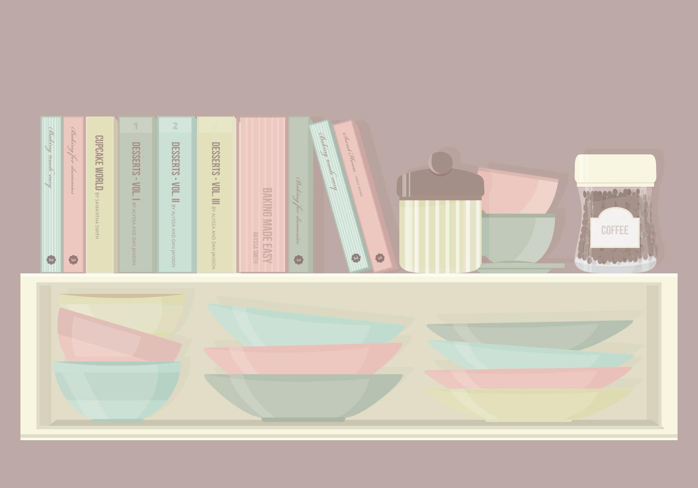 Kitchen cabinet elements vector set download free vector for Kitchen set vector