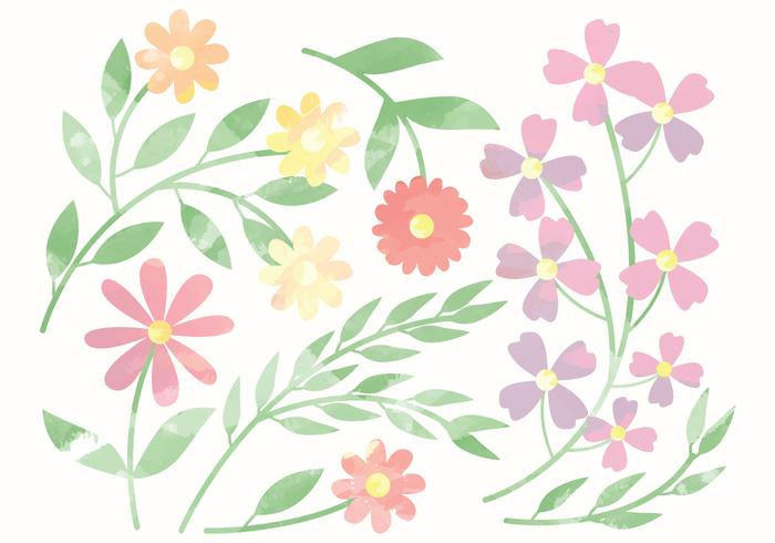 Vector Cute Watercolor Flower Elements