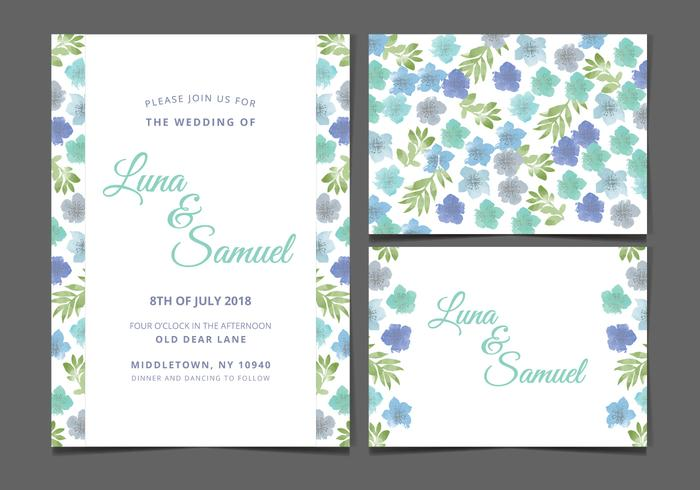 Vector Blue Floral Wedding Invite