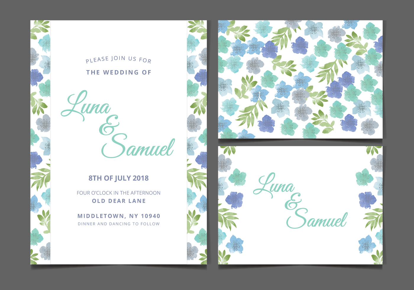 Blue Wedding Invitation Free Vector Art - (14299 Free Downloads)